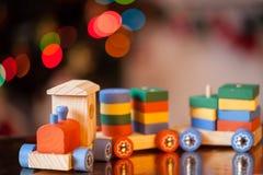 Wooden train toy. Christmas decor Stock Photos