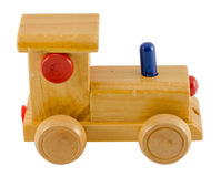 Wooden train toy color detail isolated on white. Vintage wooden kid train toy with color detail isolated on white background Royalty Free Stock Images