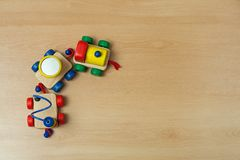 Wooden train toy on floor. Royalty Free Stock Photos