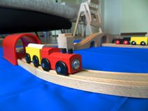 Wooden Train Toy for Kids for Creative Skills Improvement. Train Toy for Kids for Creative Skills Improvement Royalty Free Stock Image
