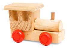 Wooden train toy with red wheels Royalty Free Stock Photo