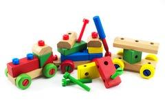 Wooden train toys. Brain development, Skills Preschool Royalty Free Stock Image