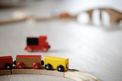 Wooden train toys Royalty Free Stock Photography