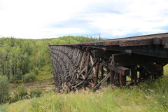 Wooden train trestle. In Canada Stock Photo