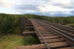 Wooden train trestle. In Canada Stock Photos