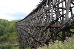 Wooden train trestle. In Canada Royalty Free Stock Image