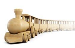 Wooden train on white background. 3d. stock illustration
