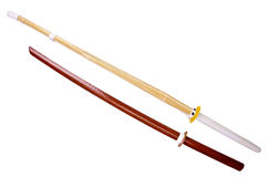 Wooden training swords Royalty Free Stock Images