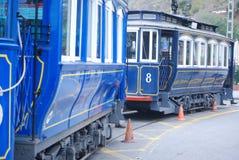 Wooden trams, street car. barcelona Stock Photos