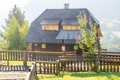 Wooden transitions between momami Kusturica in Drvengrad, Serbia stock photo