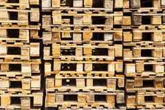 Wooden transport pallets in stacks. Stock Photography