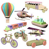 Wooden transportation toys Royalty Free Stock Photography