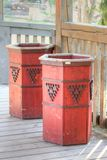 Wooden trash can Royalty Free Stock Images
