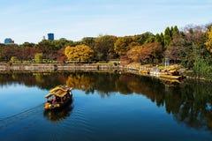 Wooden Travel boat sailing around Osaka castle Stock Photos