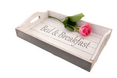 Tray bed and breakfast. Wooden tray for bed and breakfast with pink rose Royalty Free Stock Images