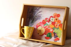 Wooden tray and ceramic coffee cup Stock Photography