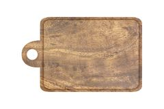 Wooden tray with handle isolated on white. Background stock photo
