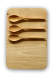 Wooden tray and spoon Royalty Free Stock Image
