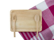 Wooden tray and spoon Royalty Free Stock Photography