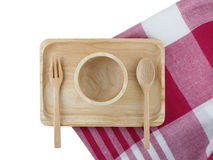 Wooden tray and spoon Stock Images