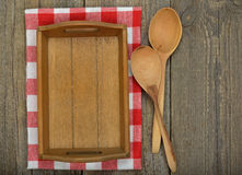 Wooden tray and spoons Stock Photography