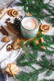 Wooden Tray Star Cup with Coffee Cappuccino Christmas Morning Cookies Decoration New Year Concept Winter Mood. Fir Tree Branch stock photos