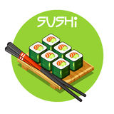 Wooden tray with Sushi vector-Japanese food. Mini set of Wooden tray with Sushi vector - Japanese food Royalty Free Stock Photography