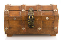 Wooden treasure chest. Closed wooden treasure chest with lock isolated over white Royalty Free Stock Photography