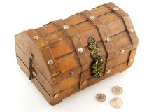 Wooden treasure chest Stock Photo