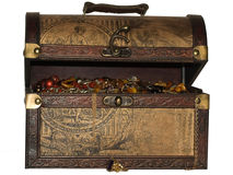 A wooden treasure chest. Filled with loot Royalty Free Stock Image