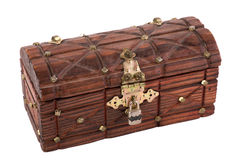 Wooden treasure chest. Isolated on white background Royalty Free Stock Images