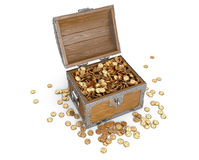 Wooden treasure chest with golden coins. Royalty Free Stock Photo