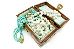 Wooden treasure chest with jewelry Stock Photography