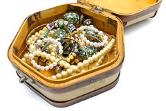 Wooden treasure chest with jewelry Royalty Free Stock Photography