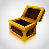 Wooden treasure chest on white background. Royalty Free Stock Photos