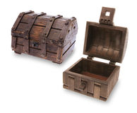 Wooden Treasure Chests. On White Background Stock Images