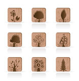 Wooden Tree Collection icons. Vector Icon Set Royalty Free Stock Photo