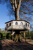 Wooden treehouse photographed in England. Very large treehouse with steps and windows photographed in woodland in Cornwall, UK Royalty Free Stock Photos