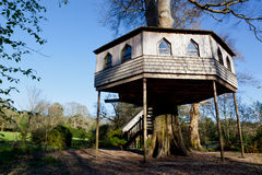 Wooden treehouse photographed in England. Very large treehouse with steps and windows photographed in woodland in Cornwall, UK Royalty Free Stock Image