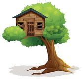 Wooden treehouse on the tree. Illustration Royalty Free Stock Photos