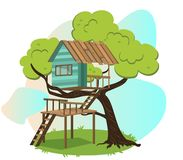 Wooden treehouse with upstairs poster. Vector illustration. Small modern comfortable hut house camp in branches of tree with scenic view. Glamping and travel Stock Illustration