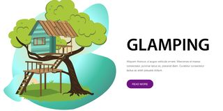 Wooden treehouse with upstairs poster. Vector illustration. Small modern comfortable hut house camp in branches of tree with scenic view. Glamping and travel Vector Illustration