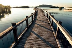 The wooden trestle along the lake royalty free stock photo
