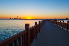 The wooden trestle sunset Royalty Free Stock Images