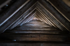 Wooden triangle roof Stock Images