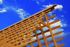 Wooden triangle roof frame Royalty Free Stock Photos