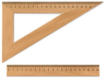 Wooden triangle and ruler Stock Photos