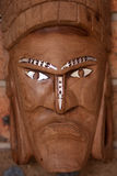 Wooden tribal face mask. Hand carved wooden face mask Royalty Free Stock Photos