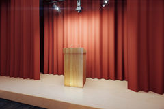 Wooden tribune on the stage with red scenes Stock Photos