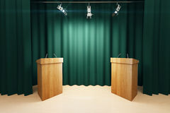 Wooden tribunes on the stage with green scenes and spotlights Stock Image